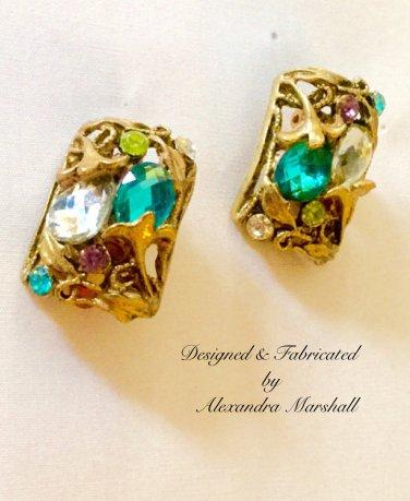 Art Noveau Florentine Gold Finish w/ Aqua, Purple & Lime Crystal Earrings w/ Cllips or Posts