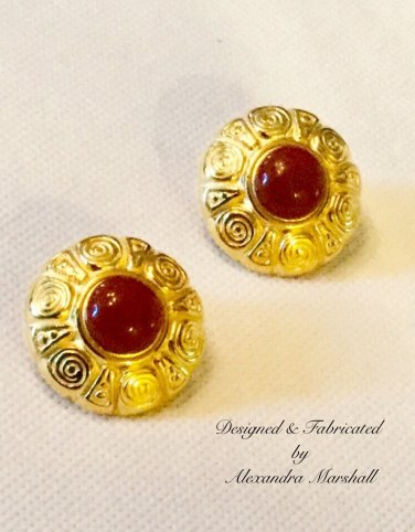 Etruscan Design Button Style Earrings w/ Clips or Posts