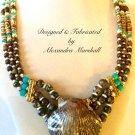 Brown, Bone, Turquoise, Leopardskin Scallop Gemstone Necklace
