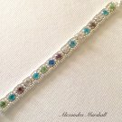 Artisan Crafted Swarovski Multicolored & Clear Crystal Silver Tennis  Bracelet
