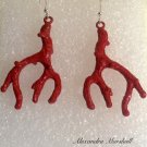 Red Coral Branch Earwires