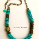 Turquoise Magnesite and African Krobo Glass and Brass Necklace