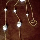 Long Baroque White Round & Baroque China Seas Pearls on Gold Tone Chain Necklace