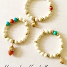 Set of 3 Orange Agate, Turquoise & White Magnesite Bracelets