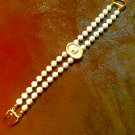 Natural Round Freshwater Pearl and Gold Leaf Bracelet