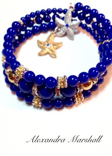 Blue Mountain Jade Wrap Bracelet w/ Silver & Golf Leaf Starfish Charms