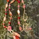 Long Pink And Peach Colored Gemstone Tassel Necklace