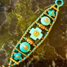 Chunky Artisan Crafted Turquoise and Gold Southwest Style Bracelet