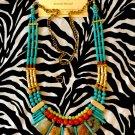 Adjustable Length Turquoise, Green, Orange, and Bone Gemstone Tribal Fusion Necklace