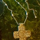 Giant Antique Silver Finished Celtic Cross Pendant Necklace W/Embellished Chain