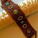 Pink, Aqua, Green, & Clear Swarovski Crystal Embellished Gold & Topaz Netted Cuff Bracelet
