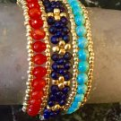 Set of Three Orange, Dark Blue, & Turquoise Semi Precious Gemstone Stacking Bracelets