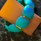 Ladies Turquoise and Gold Cuff Style Stretch Bracelet