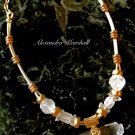 Ladies Frosty Rock Crystal & White Leather  Convertable Length Artisan Crafted  Necklace
