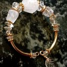 Ladies Clear & Frosty White Rock Crystal Memory Wire Bracelet