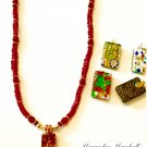 Women's  Long Red and Multi  Colored Venetian Glass Pendant