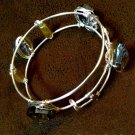 Ladies Gray  Crystal and Silver Wire Adjustable Size Bangle Bracelet