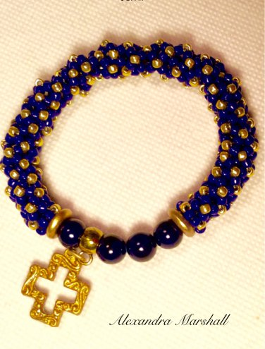 Ladies  Navy Blue & Gold Hand Beaded Stretchy Bangle Bracelet