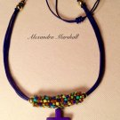 Ladies Dark Blue Gemstone Cross and Leather Necklace w/ Multicolored Beadwoven Bail