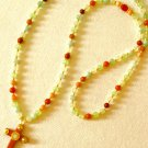 Ladies Long Cabochon Embellished Cross Pendant Necklace w/Aqua, Orange, Mint, & Peach Gemstones