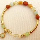 Ladies Aqua, Celadon, and Peach Gemstone Memory Wire Bracelet