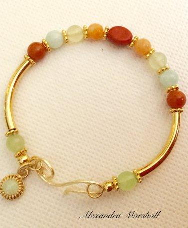Ladies Aqua, Celadon, and Peach Gemstone Memory Wire Bracelet