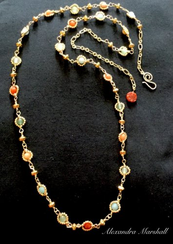 Ladies Extra Long Peach, Aqua, Green, And Blue Rosary Wire Wrapped Gemstone Necklace