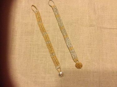 Ladies Gold and Silver Combo Herringbone Beaded Bracelet