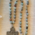 Long Chunky Multi Hued Gemstone and Pewter Celtic  Cross Necklace