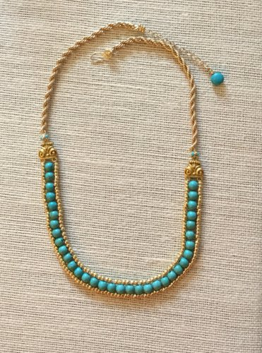Turquoise and Gold Colored Bead Woven Necklace