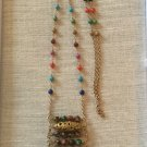 Women's Artisan Crafted Long Antiqued Gold & Vivid Colored Gemstone Boho Ladder Pendant Necklace