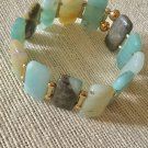 Women's Aqua, Cream, and Brown Gemstone Cuff Style Bracelet
