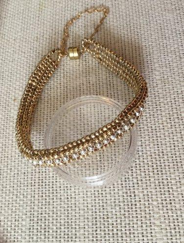 Women's Reversible Gold and Silver Hand Beaded Bracelet