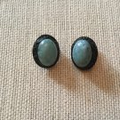 Ornate Black and Aqua Blue Bezeled Cabochon Earrings