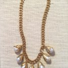 Women's Chunky Florentine Gold Finished & White Baroque South Seas Pearl Necklace