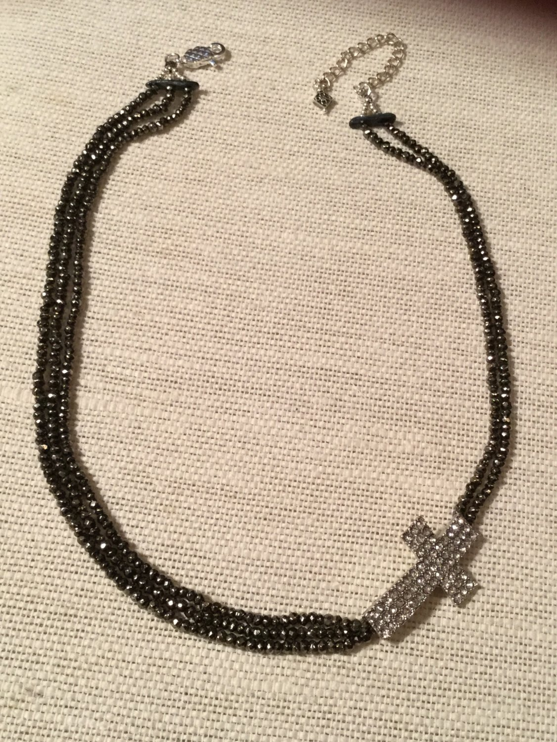 Women's  Glistening Charcoal Gray Gemstone and Pave Crystal Cross Necklace