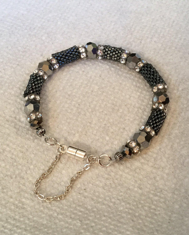 Women's Swarovski, Platinum, Charcoal, & Clear Crystal Hand Beaded Bracelet