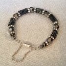 Women's Swarovski, Platinum, Charcoal, & Clear Crystal Hand Beaded Bracelet