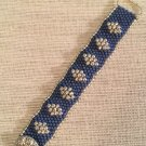 Women's Denim Blue And Silver Hand Beaded Cuff Bracelet