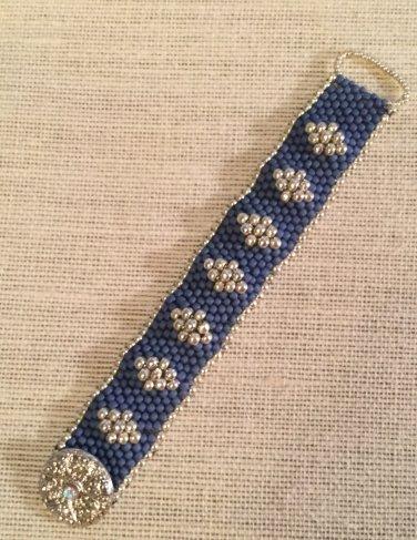 Women's Denim Blue And Silver Hand Beaded Cuff Bracelet