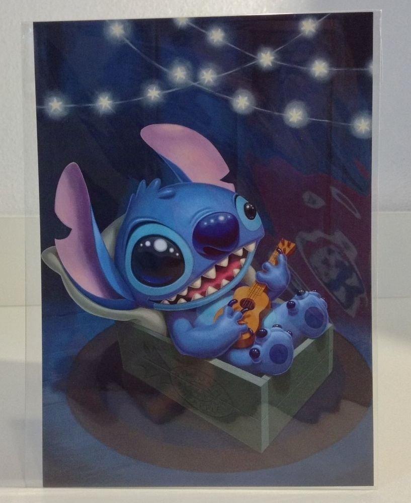 """Disney WonderGround Gallery """"STITCH SERENADE"""" POSTCARD by Kristin Tercek NEW"""