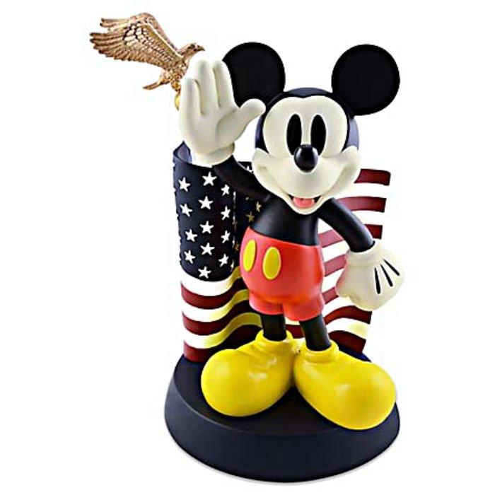 Disney Parks Medium Big Fig Figurine Mickey Mouse Salutes American Flag NEW!