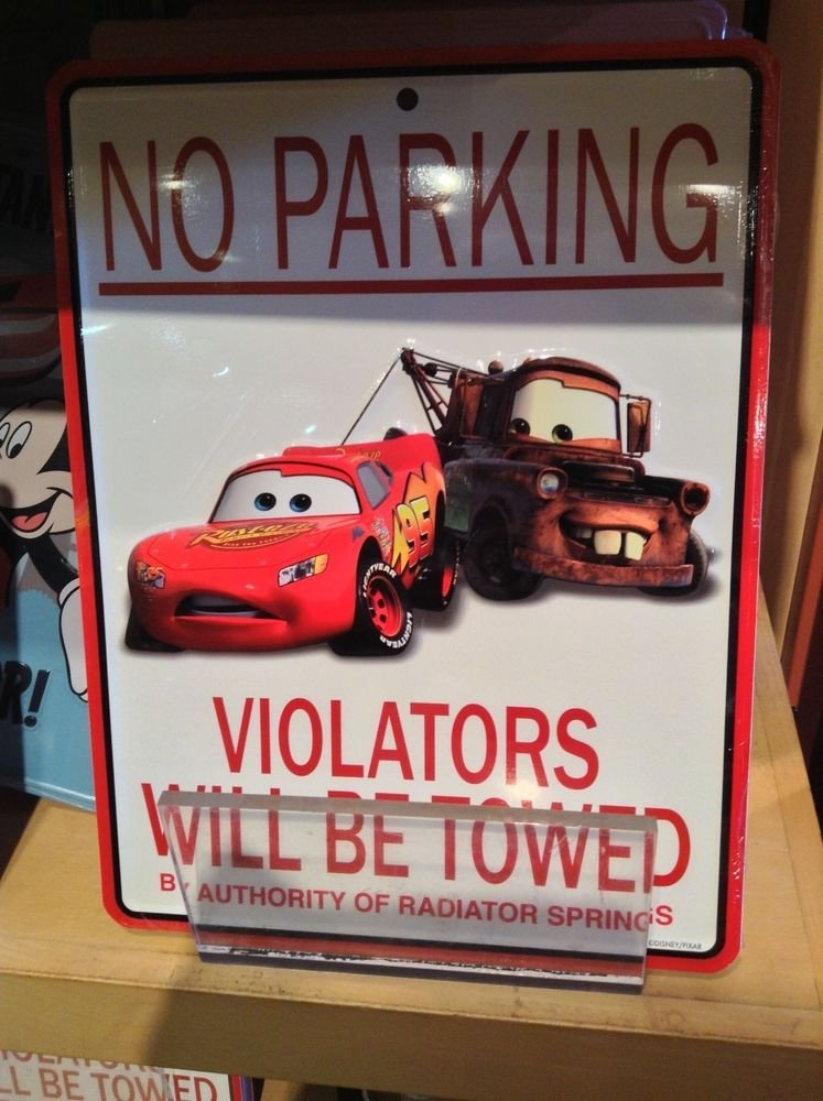 "NEW Disney Parks No Parking Wall Sign ""CARS"" Lightning McQueen Tow Mater 11""x8"""
