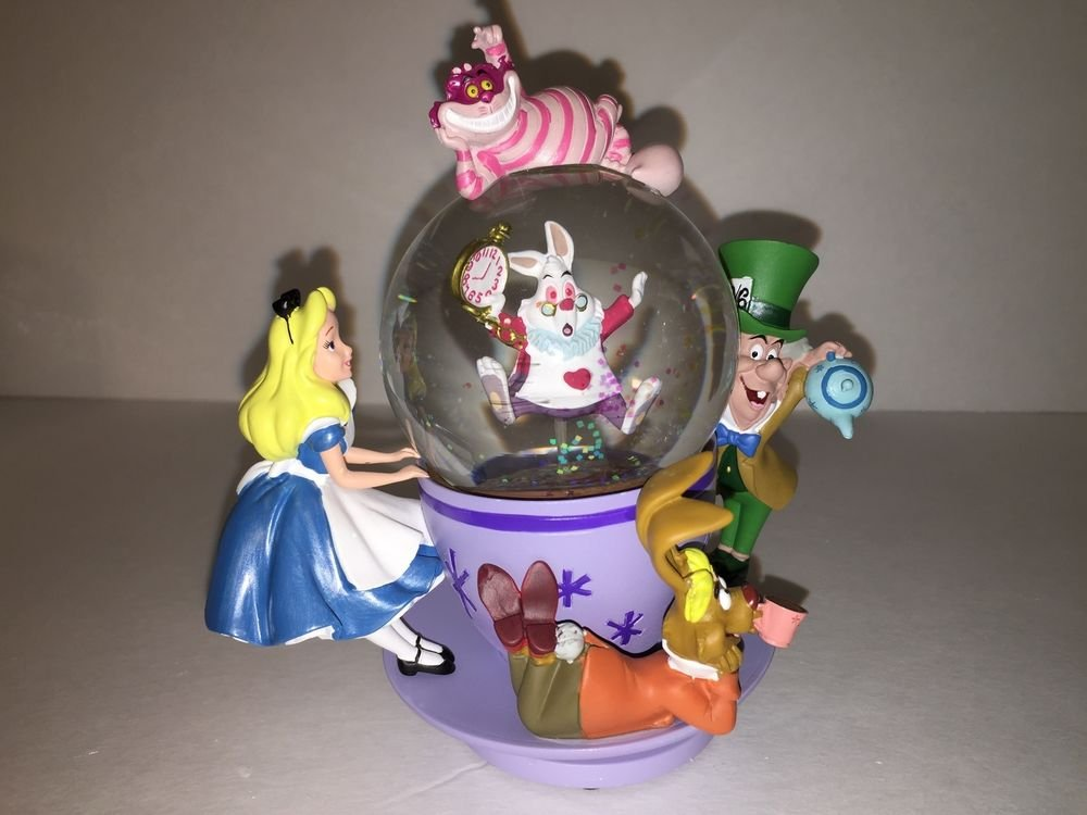 Disney Parks Alice in Wonderland & Friends Spinning Snow Globe New in Box