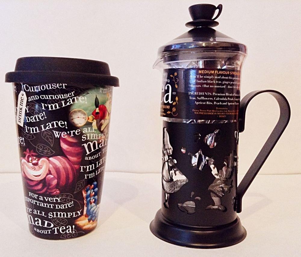 Disney Parks Exclusive Alice in Wonderland Tea Press + Travel Mug Mad Tea Party