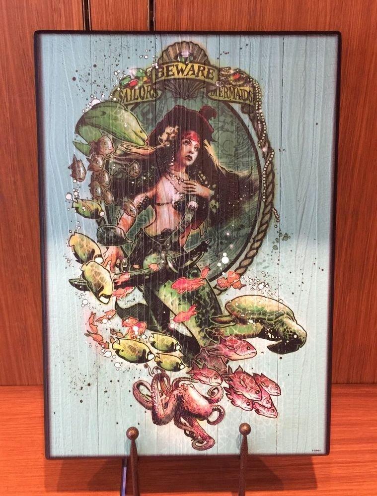 Disneyland Resort Exclusive Wood Sign Sailor Beware Mermaids BRAND NEW In BOX