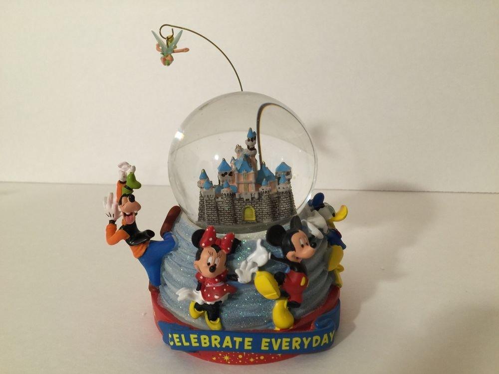Disney Parks Celebrate Everyday Snow Globe Castle TinkerBell Mickey Minnie Goofy