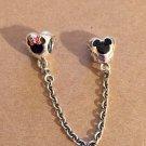 Disney Parks Pandora Mickey & Minnie Mouse Safety Chain Silver Charm New w/ Box