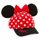 Disney Parks Disneyland Minnie Mouse Signature Polka Dot Snapback Hat Bow & Ears