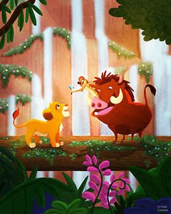 Disney WonderGround Gallery Lion King, No Worries Print by Nidhi Chanani NEW